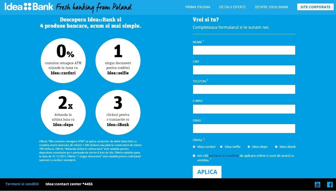 Idea Bank - landing page